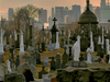 A View Of The Cemetery Showing Manhattan Skylin