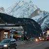 Canazei Center And Marmolada In The Evening