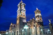 Puebla Cathedral Night View