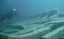 Diver Swims Over The Cumberland Shipwreck.