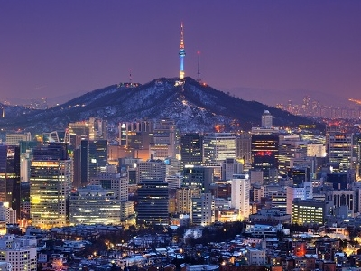 Downtown Seoul With N Seoul Tower