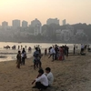 Chowpaty Beach With Malabar Hill Backdrop