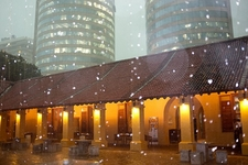 Dutch Hospital Shopping Complex With Colombo World Trade Center Backdrop In Rain