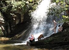 Enjoying Waterfall In Hanging Rock State Park NC