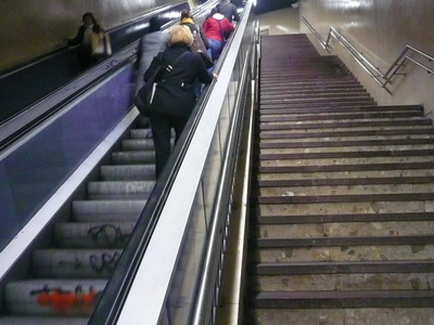 Escalators At The Vallcarca Station