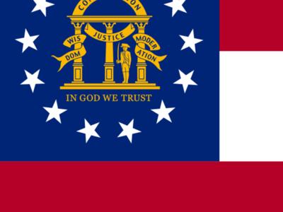 Flag  Map Of  Georgia   2 8 U . S . State  2 9