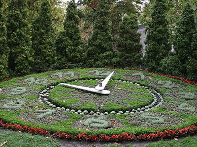 Flower Clock In The City Of Székesfehérvár