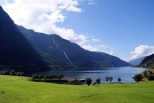 From Åkrafjorden With Waterfall Langfos