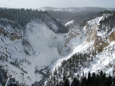 Frozen Lower Yellowstone Falls - Winter View