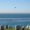 A Seahawk Flies Past The Ccemetery