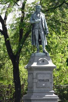 Friedrich Schiller Statue In The Lincoln Park Conservatory Formal Garden