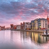 Gdansk Old Town By Motlawa River