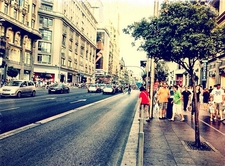Gran Via From Pedestrian Side-Walk - Madrid