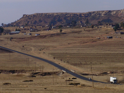 Highway In Rural Leribe District.