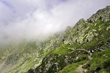 Hiking Narrow Fagaras Mountain Path