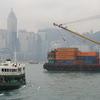 Cargo Lighter Passing The Star Ferry