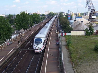 ICE Train On Riedbahn At Mannheim Handelshafen