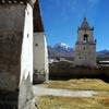 Isluga Church With Cabaray Volcano