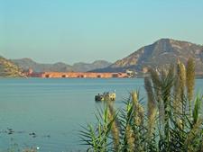 Man Sagar Dam At The Jal Mahal Palace Lake Outlet