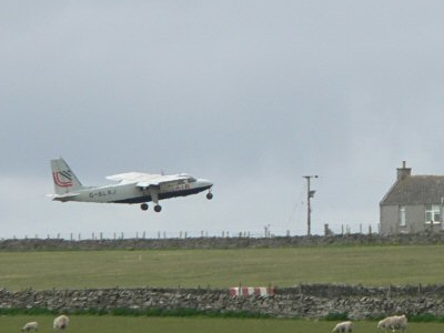 Islander Leaving  Sanday Airstrip