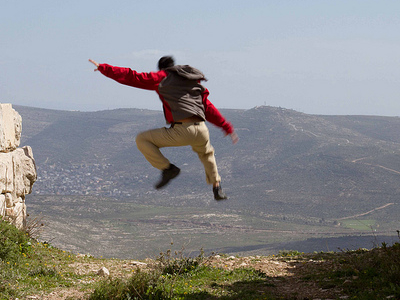Jumping Off A Cliff In Palestine