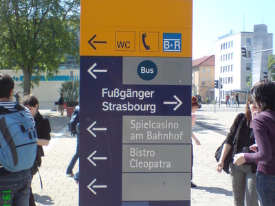 Directions Board Outside Kehl Train Station