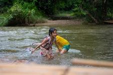 Kids Enjoying In Ratchaburi Stream