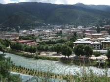 Left View Of Thimphu From The Southeast. Right The Wang Chhu Riv