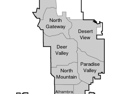 Location Of Ahwatukee Foothills Highlighted In Red.