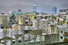 Lyon In Snow By Night