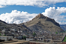 Left The Gyantse Dzong With Gyantse Village In The Foreground