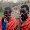 Maasai Villagers In Traditional Clothing