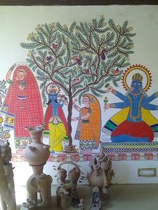 Madhubani Mural And Terracotta Figurine