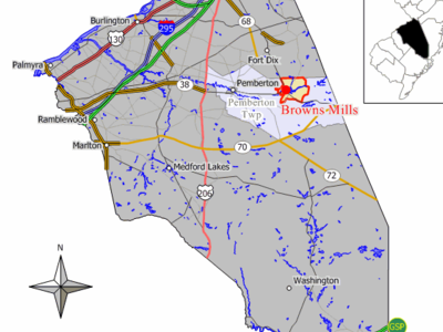 Map Of Browns Mills Cdp In Burlington County
