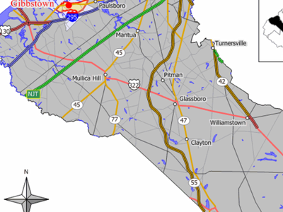 Map Of Gibbstown Cdp In Gloucester County