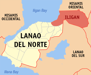 Map Of Lanao Del Norte Showing The Location Of Iligan City.