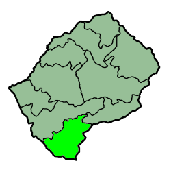 Map Of Lesotho With The District Highlighted