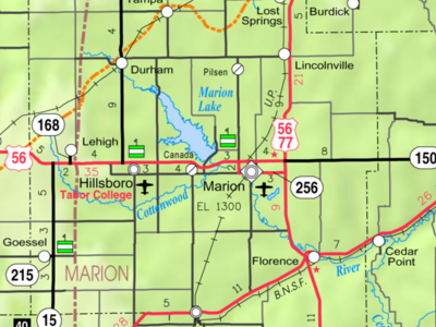 Map Of  Marion  Co  2 C  Ks  2 C  U S A