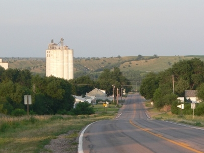 Maywood Seen From The West Along Nebraska Highway