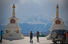 Meili Snow Mountains With Stupas In Forefront