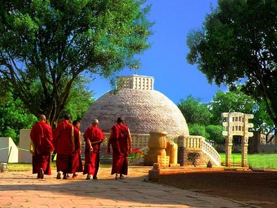 Monks Visiting The Sanchi Vihara