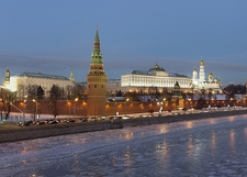 Moskva River Winter Evening Near Kremlin