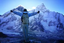 Mount Everest (8848m) And Nuptse Mountain (7861m) Just Before Sunrise, Standing On The Kala Patthar Summit, Himalayas, Nepal