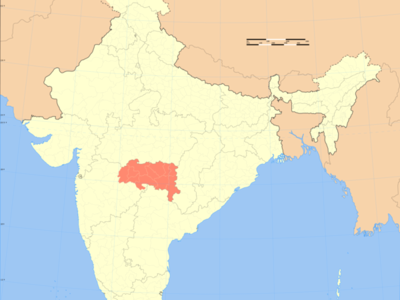 Map Of India With Vidarbha Highlighted In Red