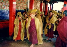 Monks Hurrying To Services Tashilhunpo