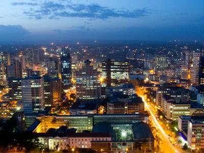 Nairobis Skyline At Dusk.
