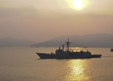 Naval Ship In Straits Of Malacca