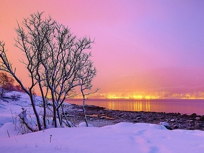 Norway Fjords Seen From South Beach Of Tromso Island