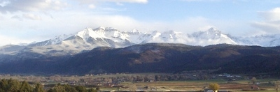 Panorama Of The Sneffels Range With Ridgway Below