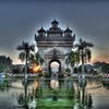 Patuxai With Front Pond - Vientiane